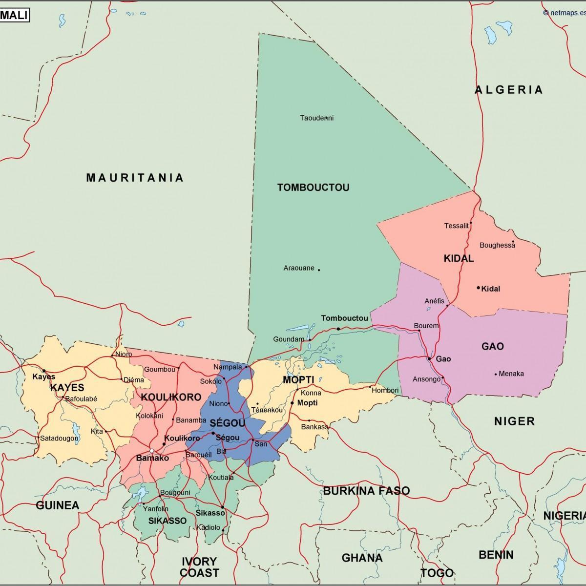 Polityczna Mapa Mali Mapy Polityczne Mali Afryka Zachodnia